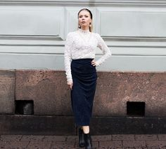 Anna Valkia wearing a white lace top by Rosemunde and midnight blue velvet skirt by By Malene Birger. Velvet Skirt, Malene Birger, Blue Velvet, Midnight Blue, White Lace, Fashion Beauty, Anna, Normcore, Glamour