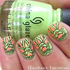 Handtastic Intentions: Neon Week Nail Art: Neon Advanced Stamping