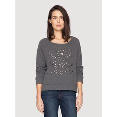 Eyelet Sweatshirt The 4 Love and Liberty EYELET SWEATSHIRT offers a feminine take on the classic French Terry sweatshirt thanks to a decorative eyelet design that adorns its front. Layer this grey sweatshirt over a white button-down blouse and dark wash jeans for a chic daytime look!%0A%0A- French Terry%0A- Scoop Neck and Long Sleeves%0A- Eyelet Detailing%0A- Dry Clean Recommended