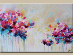 pintura abstracta - acrílico sobre lienzo - moderno-Magenta-pintura-pintura Acrylicpainting-verde azulado art-flor por ROBLE