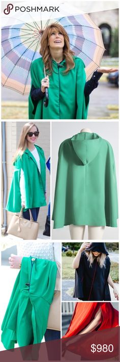 """HP x2 """"Reign on!"""" Green Raincoat cape This is the cutest raincoat cape that I own, so I just HAD to pick up an extra for you! One size fits all (S) lightweight cape is perfect for looking chic while it rains on all your haterssssss 😎🌂 brand new w tags // vibrant green cape highlighted by royal blue piping has perfectly placed front side pockets. With this cape jacket, no umbrellas or cheap ponchos are needed // only showing other colors to show more details of the overall body, style…"""