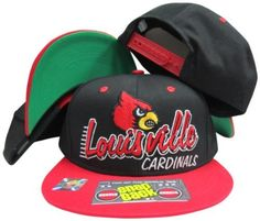 Louisville Cardinals Black/Red Two Tone Plastic Snapback Adjustable Plastic Snap Back Hat / Cap Top of the World. $29.99