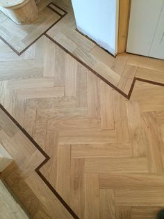Oak herringbone pattern with a walnut tramline in the Hall. Wood Parquet, Parquet Flooring, Wooden Flooring, Kitchen Flooring, Hardwood Floors, Entry Tile, Wood Floor Design, Bamboo Bathroom, Small Home Offices