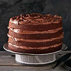 Buttermilk Chocolate Layer Cake from Family Circle FEB 2017 Chocolate Muffins, Chocolate Treats, Cake Chocolate, Chocolate Recipes, Cupcake Recipes, Cupcake Cakes, Dessert Recipes, Cupcakes, Just Desserts