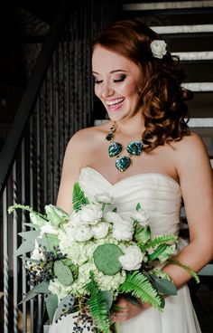 White and Greenery bouquet; White flowers; Geode Inspired Wedding Shoot; Geode; The A Geode Inspired Wedding Shoot; Red Balloon Photography; The Coordinated Bride Wedding Blog