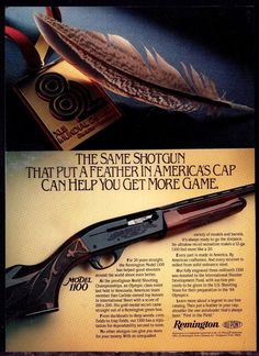 1984 REMINGTON Model 1100 Shotgun Photo AD Vintage Gun Advertising #Remington
