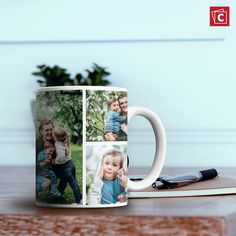Did you know that you can put more than one photo on our photo mugs? Check out our collage option in our photo mug tool! Personalized Ceramic Coffee Mugs, Personalized Photo Mugs, Custom Photo Mugs, Custom Mugs, Photo Mug Printing, Happy Anniversary Wedding, Coffee Mugs Online, Photo Pillows, Photo Look