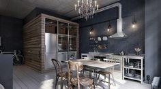 kücheneinrichtung graue wandfarbe cooler kronleuchter