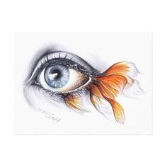 Color Pencil Drawing Ideas Eye with fish tail Surreal art Wrapped canvas - Graphite and colored pencils surrealistic drawing. Pencil Art Drawings, Art Sketches, Pencil Drawing Tutorials, Eye Drawings, Drawing Ideas, Drawing Tips, Fish Pencil Drawing, Sea Drawing, Art Inspiration Drawing