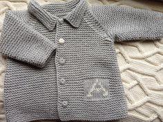 Personalised hand knitted baby cardigan boy jumper by Teddyhug