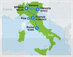 Best of Italy Trip map with Eurail