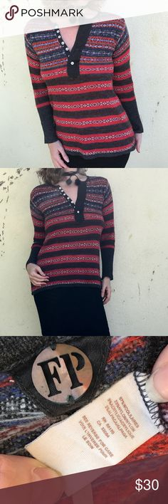 FREE PEOPLE STRIPED SWEATER HENLEY  boho top M Lovely cozy boho Henley sweater by FREE PEOPLE. In red, white, and gray this tribal striped sweater top is nice year round. Great for layering!  Button up neckline. Wool/nylon/acrylic. Sz M (a3) Free People Sweaters