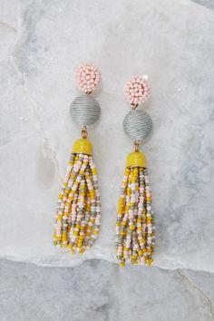 Be Yourself Yellow Multi Tassel Earrings at reddressboutique.com