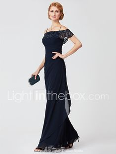 Sheath / Column Off Shoulder Floor Length Polyester Mother of the Bride Dress with Beading Pleats by LAN TING BRIDE® 2018 - $143.99