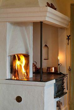 Rustic Kitchen Design, New Kitchen Designs, Home Decor Kitchen, Country Kitchen, Interior Design Elements, Home Interior Design, Cottage Fireplace, Build Your House, Living Room Designs