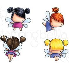 Stamping Bella Cling Stamps Little Bits Fairy Fairy Drawings, Cute Drawings, Kawaii Doodles, Cute Fairy, Christmas Drawing, Fairy Land, Copics, Drawing For Kids, Fabric Painting