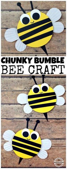 Wooden Craft Bumble Bees For Kids · The Inspiration Edit - - Are you looking for a fantastic preschool bumble bee craft? Today we have these wonderful wooden craft bumble bees which are simple, fun and easy. Bees For Kids, Bee Crafts For Kids, Toddler Crafts, Art For Kids, Summer Crafts For Preschoolers, Preschool Arts And Crafts, Spring Crafts For Kids, Classroom Crafts, Bumble Bee Crafts