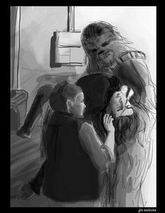 omnomnomlette an alternate scenario in episode vii that came up in a group chat: after rey and kylo's battle on starkiller, the ground divides with both rey and kylo on the same side instead of separating them. chewie comes to the rescue in the falcon…for everyone, including kylo, and brings him back to the resistance base for a reunion with his mother. does leia look at kylo as the man who killed her husband(?), or the son who killed his father?