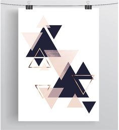 Wall Art Print Digital Poster Navy Blush Art Copper Decor
