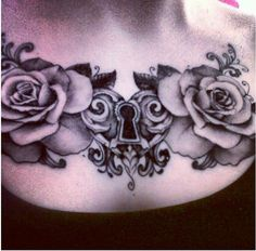 heart lock and roses upper chest tattoo. leave black and white or add a pop of color for mastectomy scar coverage. [p-ink.org]