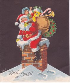 Vintage Christmas Card Hull Jolly Santa Gifts Snow Roof Top Chimney Old Time Christmas, Christmas Snow Globes, Old Fashioned Christmas, Christmas Love, Father Christmas, Christmas Decor, Merry Christmas, Vintage Christmas Photos, Christmas Artwork