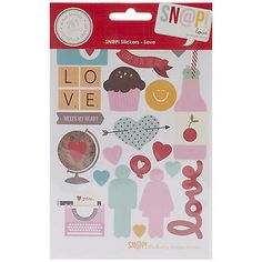 SN@P! LOVE (261) STICKERS scrapbooking (4) SHEETS ICONS ALPHA ELEMENTS