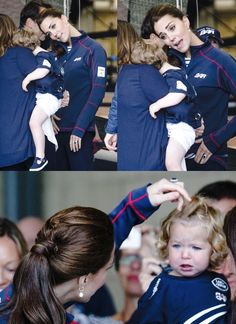 """merrywivesofwindsor:  Visit to America's Cup World Series, Portsmouth, July 26, 2015-the Duchess tried to cheer up a tearful toddler during her visit; the Duchess admitted to another mom who said her 2-year-old said he was three, """"George says that.  He thinks that he's older."""""""