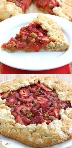 Strawberry Rhubarb Galette Recipe on twopeasandtheirpod.com. The perfect dessert for spring!