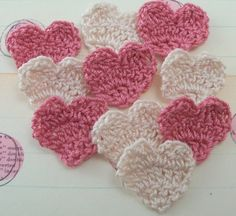 Crochet Heart Appliques  Dusty Rose and Natural by FineThreads, $3.00