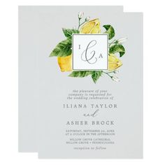 Modern Lemon Garden | Gray Formal Monogram Wedding Invite with boho white flowers, elegant green leaves and bright yellow beautiful watercolor lemons on a light gray background with a mediterranean feel. It's perfect for a spring or summer destination wedding in Italy or Greece. Click to customize with your personalized details today. Ampersand Wedding, Monogram Wedding Invitations, Spring Wedding Invitations, Beautiful Wedding Invitations, Wedding Invitation Sets, Invitation Design, Invite, Italy Wedding, Boho Wedding