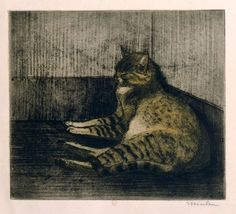 Chat Dormant Dans Un Coin -  cat sleeping in a corner | etching, 1902 | Théophile Alexandre Steinlen