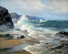 Charles Vickery - Untitled Seascape, x oil on canvas Watercolor Landscape, Landscape Art, Landscape Paintings, Landscapes, The Ocean, Ocean Art, Ocean Scenes, Beach Scenes, Sea Waves