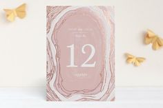 """""""Gilt Agate"""" - Abstract Wedding Table Numbers in Navy by Kaydi Bishop."""