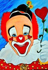 Clowns Paintings - Sunny The Clown.........  by Tanya Tanski