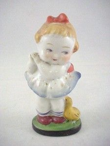"Vtg Made in Occupied Japan Small 3-7/8"" T Porcelain Girl w/ Duck Figure Figurine  $12.95"