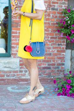 blue purse, leather, pom pom charms, oxfords, hello dress, summer