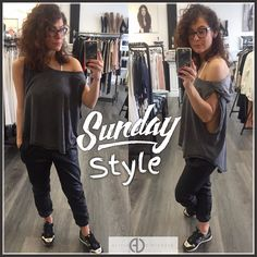 """Keeping it casual it what I do best  My look today: Leather Joggers Alex Pullover pulled off the shoulder.  SHOP: http://ift.tt/1rNgIir CODE: """"FREESHIP"""" at checkout"""