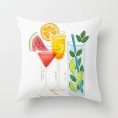 Summer Cocktail Trio Throw Pillow