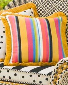 Shop Courtyard Outdoor Throw Pillow from MacKenzie-Childs at Horchow, where you'll find new lower shipping on hundreds of home furnishings and gifts. Cheap Throw Pillows, Cute Pillows, Outdoor Throw Pillows, Designer Throw Pillows, Decorative Throw Pillows, Boho Style Decor, Home Styles Exterior, Mobile Boutique, Patio Furniture Sets