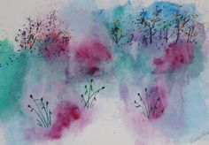 """Elve's Dusk watercolor  original only 1 by EnchantedRoseProduct, $20.00  Approximate 17"""" x 12"""" watercolor of flowing flowers. Zen-like watercolor to place on your wall and meditate on or simply enjoy. Frame to match your room and/or ambiance. This is an original - one of a kind painting. Sprayed with protective spray to eliminate discoloration."""