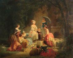 """Marie Antoinette in her hamlet at Versailles,"" by Charles Gustave Housez. 1867."
