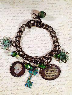 Six Pence Charm Bracelet. OOAK brass and green by GemJelly