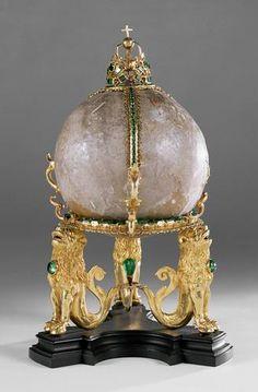 Bezoar Stone. Mounted in a Elaborate Gold Stand with Emeralds. Kunsthistorisches Museum, Vienna, Austria.