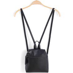 Black Zipper PU Backpacks (£14) ❤ liked on Polyvore featuring bags, backpacks, black, daypack bag, zipper bag, day pack backpack, polyurethane bags and pu bag