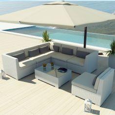 Amazon.com : Uduka Outdoor Sectional Patio Furniture White Wicker Sofa Set Luxor Off White All Weather Couch : Outdoor And Patio Furniture S...