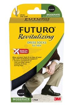 Futuro Revitalizing Mens Dress Socks Black Medium Moderate 1520 mmHg  2 Pack *** Details can be found by clicking on the image from Amazon.com