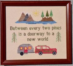 Pickle Barrel Designs On the Road - Cross Stitch Pattern. Between every two pines is a doorway to a new world. Stitch Count: 116W x 102H