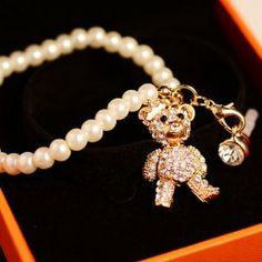 Fashion Style Faux Pearl and Rhinestone Embellished Bear Shape Pendant Cellphone Dustproof Plug