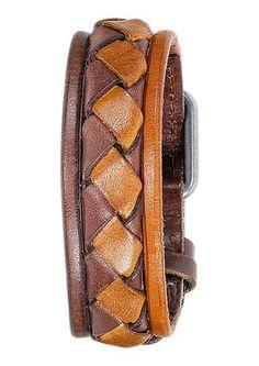 Armband, Fossil. Aus Leder, mit Metall kombiniert, ca. 25 cm lang, verstellbar von ca. 19,5 bis ca. 23 cm.