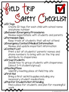 Mrs. Plemons' Kindergarten: Field Trip Planning Ideas & Checklists **Free**